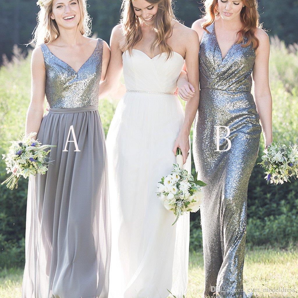 Cheap bliing sliver bridesmaid dresses 2017 floor length v neck cheap bliing sliver bridesmaid dresses 2017 floor length v neck sequined maid of honor gown two style wedding party dresses custom made bridesmaid dresses ombrellifo Choice Image