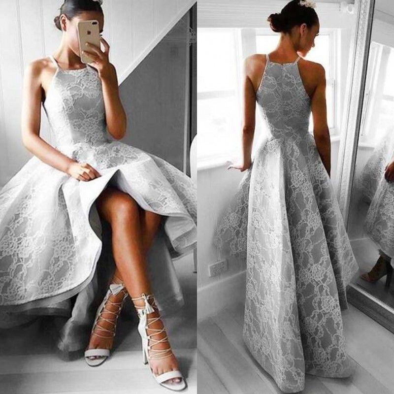 d38effca76d 2017 Stunning High Low Evening Dress Spaghetti Straps Halter Sleeveless  Silver Lace Hi Low Dresses Custom Made Prom Dress B Darlin Prom Dresses  Backless ...