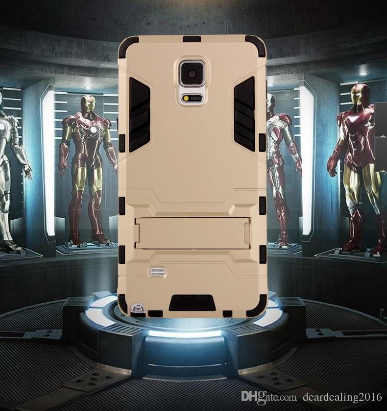 For S5 S6 Note7 Hard Shock Proof Back Cover for samsung S7 S7 edge Iron Man Case TPU+PC Rubber With Stand Flexible Armor