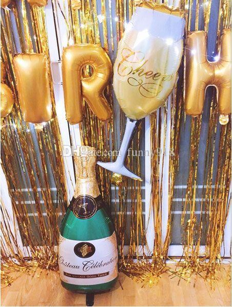 Entrega rápida grande 90 * 40 cm balões de folha de alumínio de vidro champanhe festa de casamento decoração suprimentos balão de celebração atacado