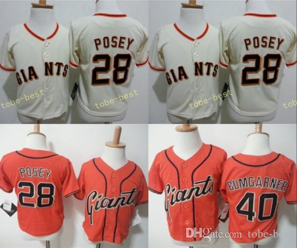 outlet store sale ad23a 24a27 san francisco giants 40 madison bumgarner cream kids jersey