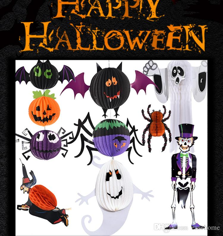 2017 2017 halloween suppies halloween decorations paper pumpkin ghost spider bat 3d paper lantern in well packing from easehome 162 dhgatecom