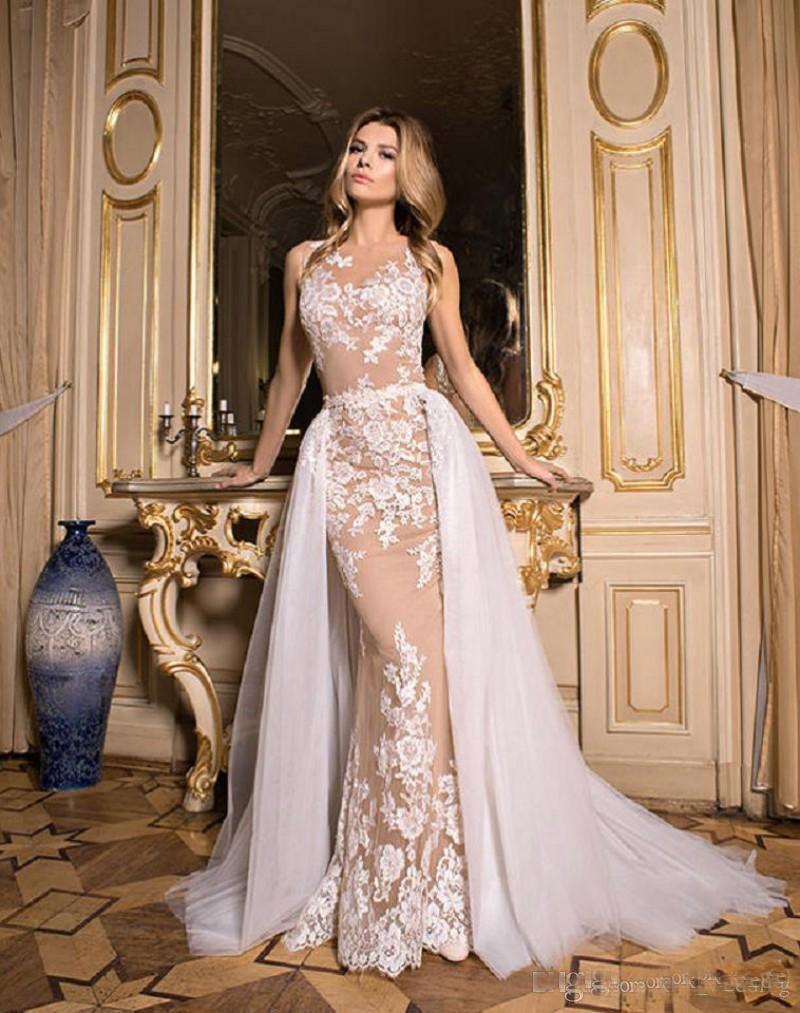 Compre 2017 Nuevo Diseño Faldas Vestidos De Novia Desmontable Tren Ilusión Volver Con Apliques Jardín Vestido De Novia Sirena Vestido Sexy Para Bodas