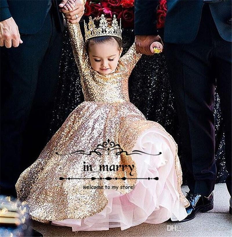 Rose Gold Sequined Ball Gown Girls Pageant Dresses Cupcake Glitz