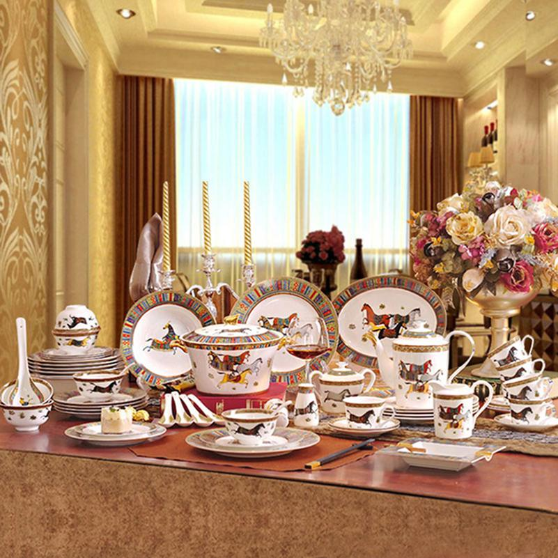 Porcelain Dinnerware Set Bone China Horses Design Outline In Gold  Dinnerware Sets Dinner Set Coffee Set Wedding Gift Contemporary Dinnerware  Sets Sale Cool ...