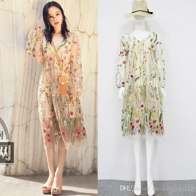 ac5ab21668d0c Free Shipping 2017 Mesh Florals Embroidery V Collar Long Sleeves Women s  Dress Bohemian Sheer Holiday Beach Dresses Women C061789
