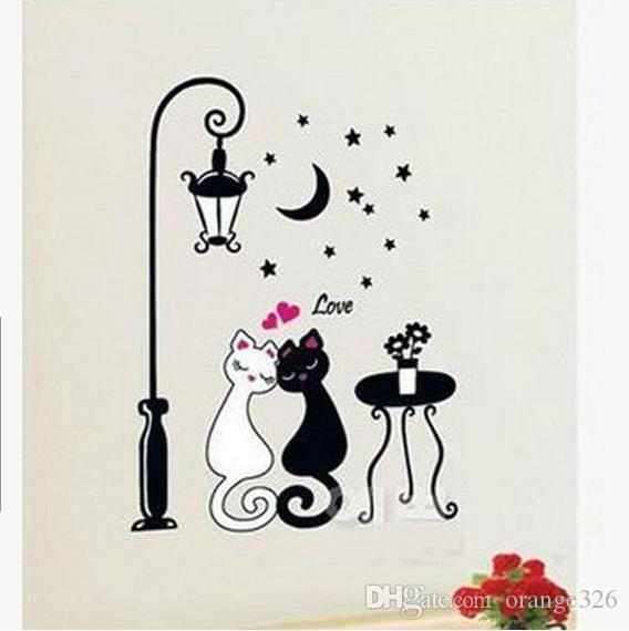 Cartoon Black White Couple Cat Wall Decal Art Mural Fashion Romantic Wall  Sticker Wallpaper Living Room Sofa Home Décor The Wall Sticker The Wall  Stickers ...