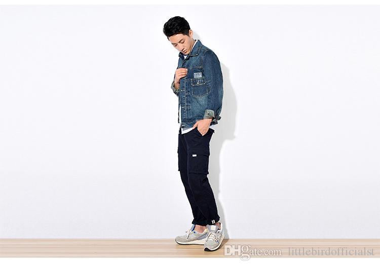 Vestuário dos homens Jaqueta Jeans Bolso Slim Fit Casuais Jeans Casacos de Lavagem Do Vintage Mens Jean Roupas