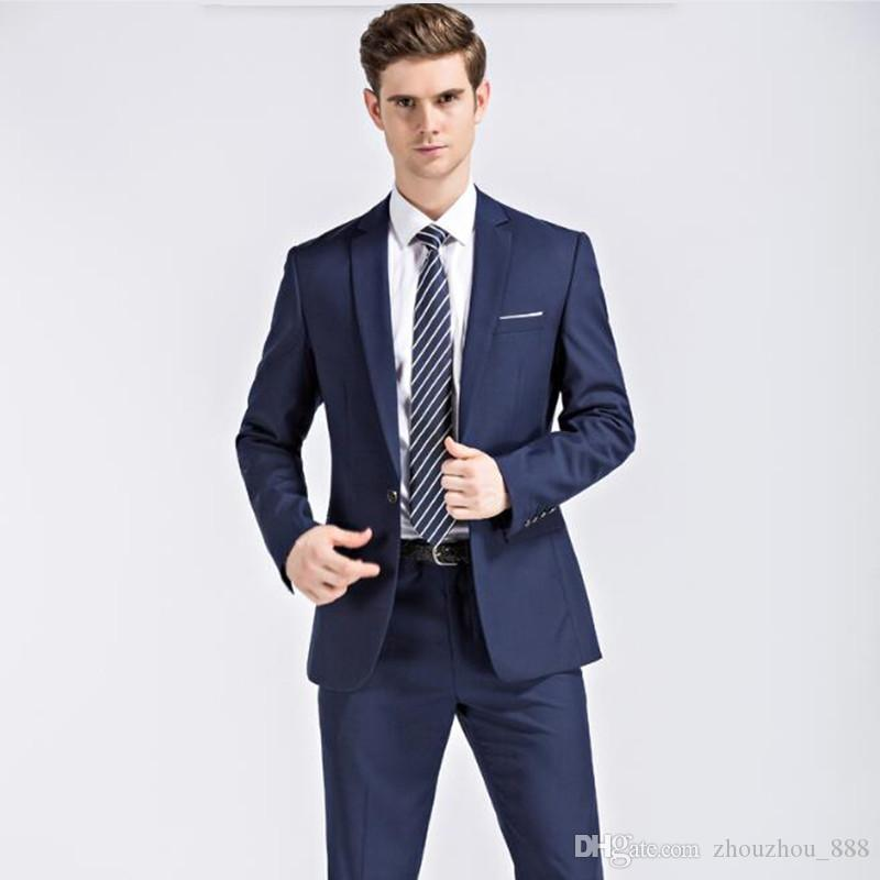 2018 Men Suits For Wedding Latest Coat Pant Designs Fashion Groom Suits Tuxedos Stylish Black