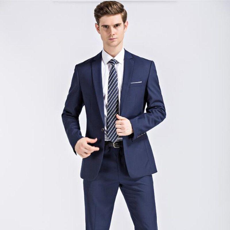 Compre Trajes De Hombre Para La Boda Últimos Diseños De Pantalón De Abrigo  Trajes De Novio De Moda Trajes De Etiqueta Negro Trajes De Negocios Azul  Elegante ... 091a4970a595