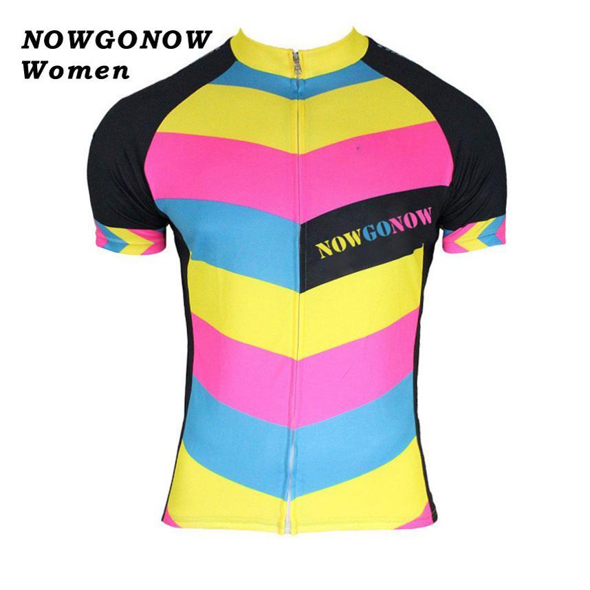 All'ingrosso personalizzato 2017 ciclismo jersey donna multicolor abbigliamento bike wear breve mtb road team racing riding maillot ropa ciclismo NOWGONOW