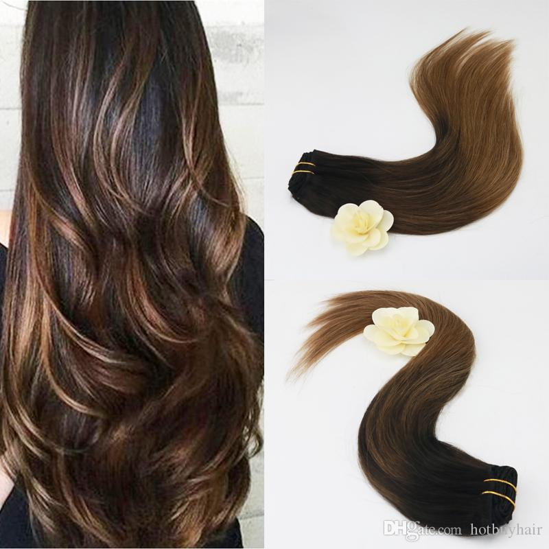 Remy Clip On Hair Extensions Human Hair Balayage Highlighted Color