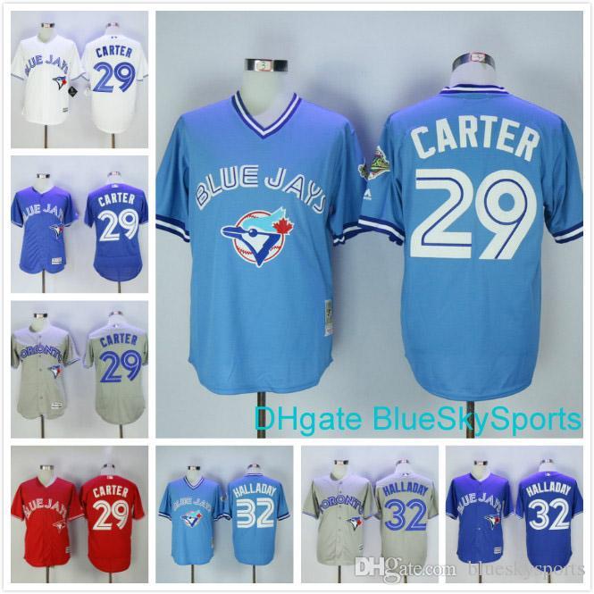 d32e57811 ... 2017 Throwback Toronto Blue Jays 29 Joe Carter Jersey 32 Roy Halladay  White Blue Gray Red ...