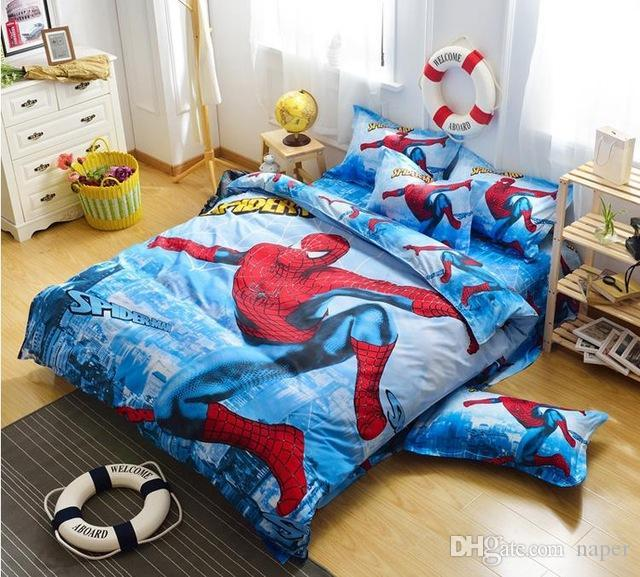 Wholesale Hot Sell Spiderman Bedding Set Girls Twin Full Size Bedding Kids  Quilt Set Boys 100%cotton 3d Cartoon Duvet Cover Bed Sheets Brown Bedding  Sets ...