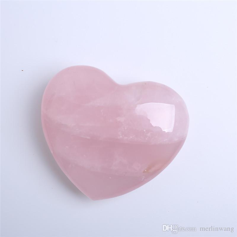 HJT about 90mm rose pink Quartz crystal Heart Carving Craft Stone Chakra Healing Reiki Stones Lover gife stone crystal Heart shape