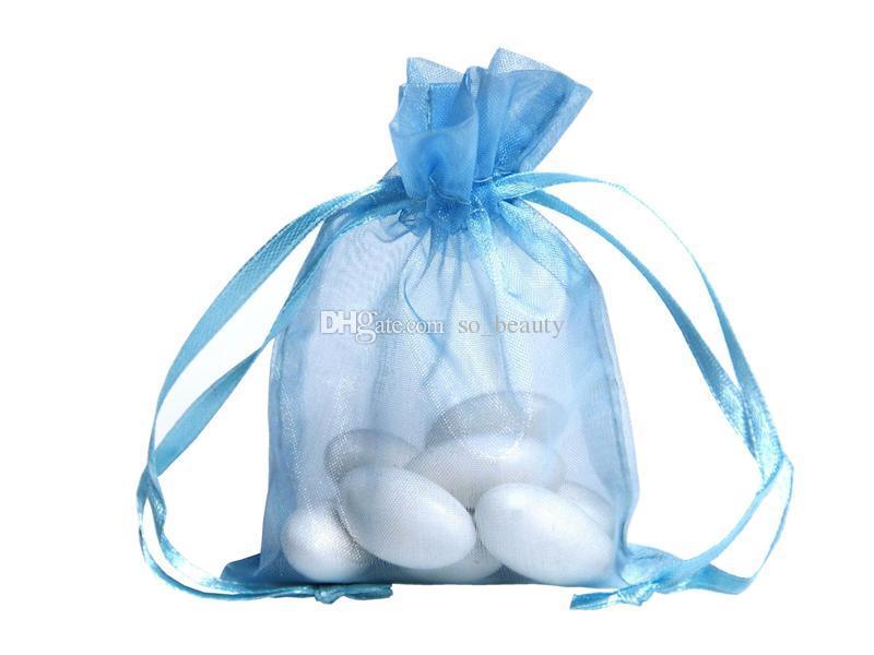 100 шт. Синяя Органза Упаковочные сумки Упаковка Ювелирные изделия Свадьба Свадьба Форс Рождественская вечеринка Подарочная сумка 13 х 18 см 5 х 7 дюймов