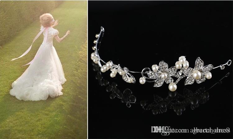 Accessoires De Cheveux De Mariée De Mode De Mariage De Cheveux avec Des Couronnes De Perle De Perle et Des Diadèmes Tête Bijoux Strass Mariée Tiara Bandeau Noiva