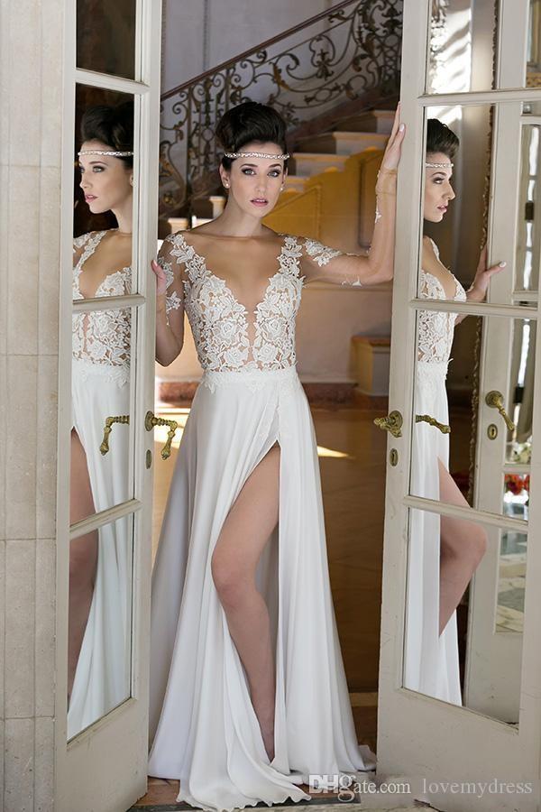 Uzun Kollu V Boyun Gelinlik Ucuz Bahçe Kıyafeti Bölünmüş Seksi Tasarım Iullsion Korse Aplikler A Hattı Gelin Kıyafeti Moda Custom Made