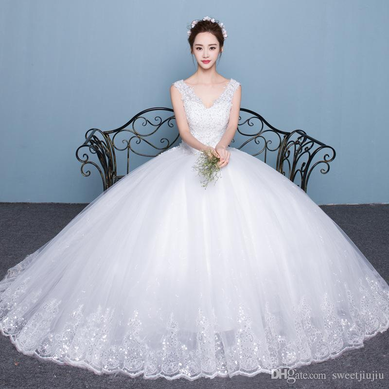 New Bride Wedding, Korean Style Shoulders V Neck Was Thin Princess ...