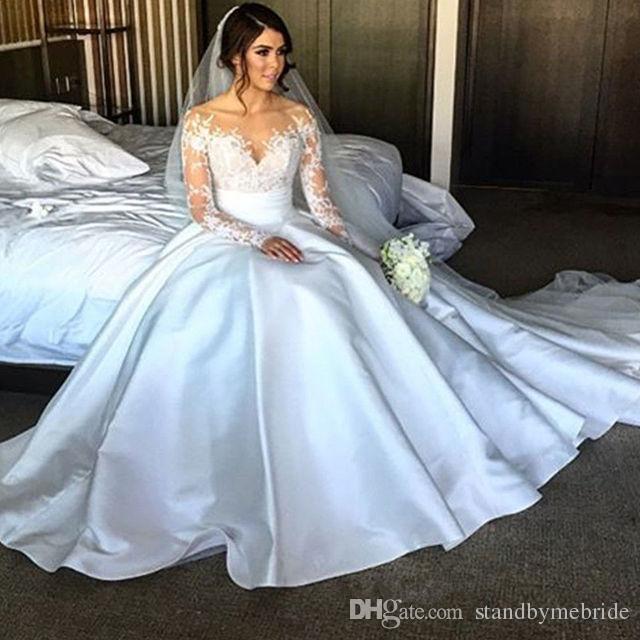 Modest Sweetheart Lace Wedding Dresses Long Sleeves Plus Size Princess Bridal Dress Vestidos De Noiva Ball Gown Vintage Gowns for 2018