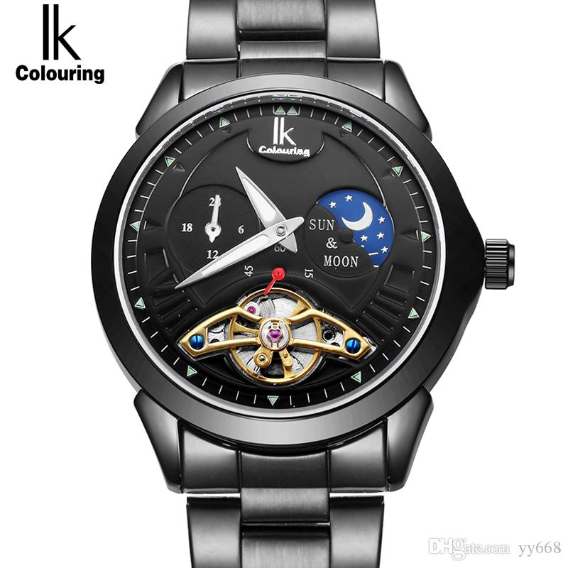 b86dbeea16c IK 2018 Função Fase Da Lua De Luxo Homens Relógio De Marca Superior 24  horas de Aço Inoxidável Banda Esqueleto de Ouro Automático Relógios  Mecânicos Homem