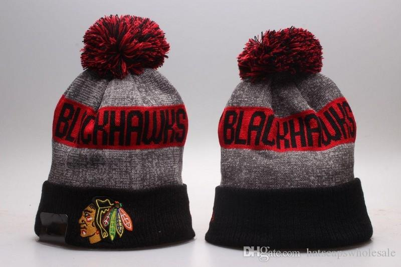 reputable site 1fa05 8d9de 2017 New Chicago Blackhawks Sport NHL Knitted Beanies Winter Warm Skull Hats  Ice Hockey Vintage Pom Embroidery Team Logo Cuff Beanie Caps