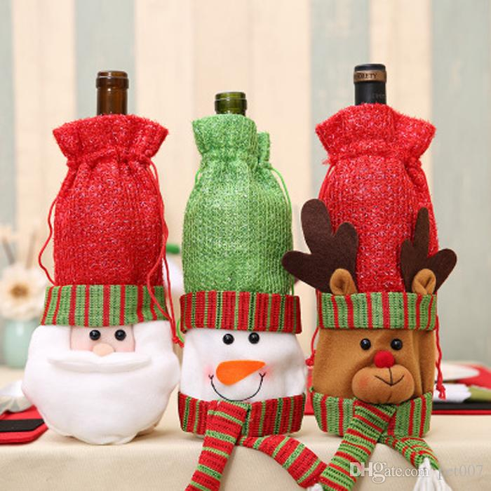 hot christmas bottle cover table decoration christmas table decorative santa suit wine bottle cover candy bag holiday gift cheap xmas decorations online