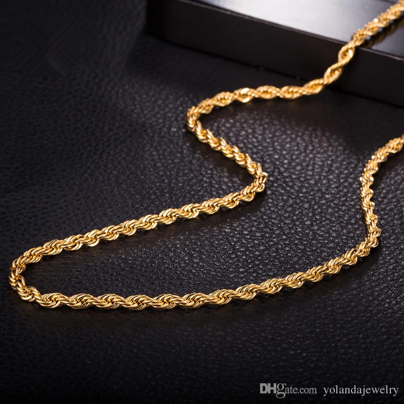 New Design 3MM 24Inches 60CM Men\'s Necklace Chain 18K Yellow Gold ...