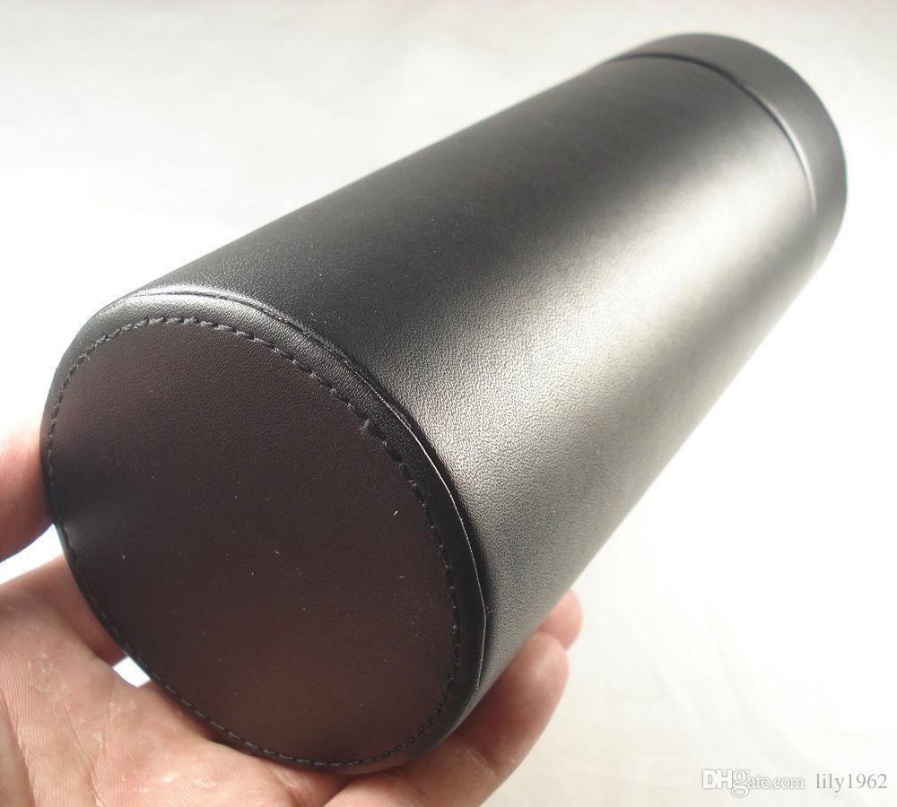 2017 Noir Couleur Cigarette Accessoires COHIBA En Cuir Véritable Voyage Cigare Tube Jar Humidor avec Hygromètre Humidificateur