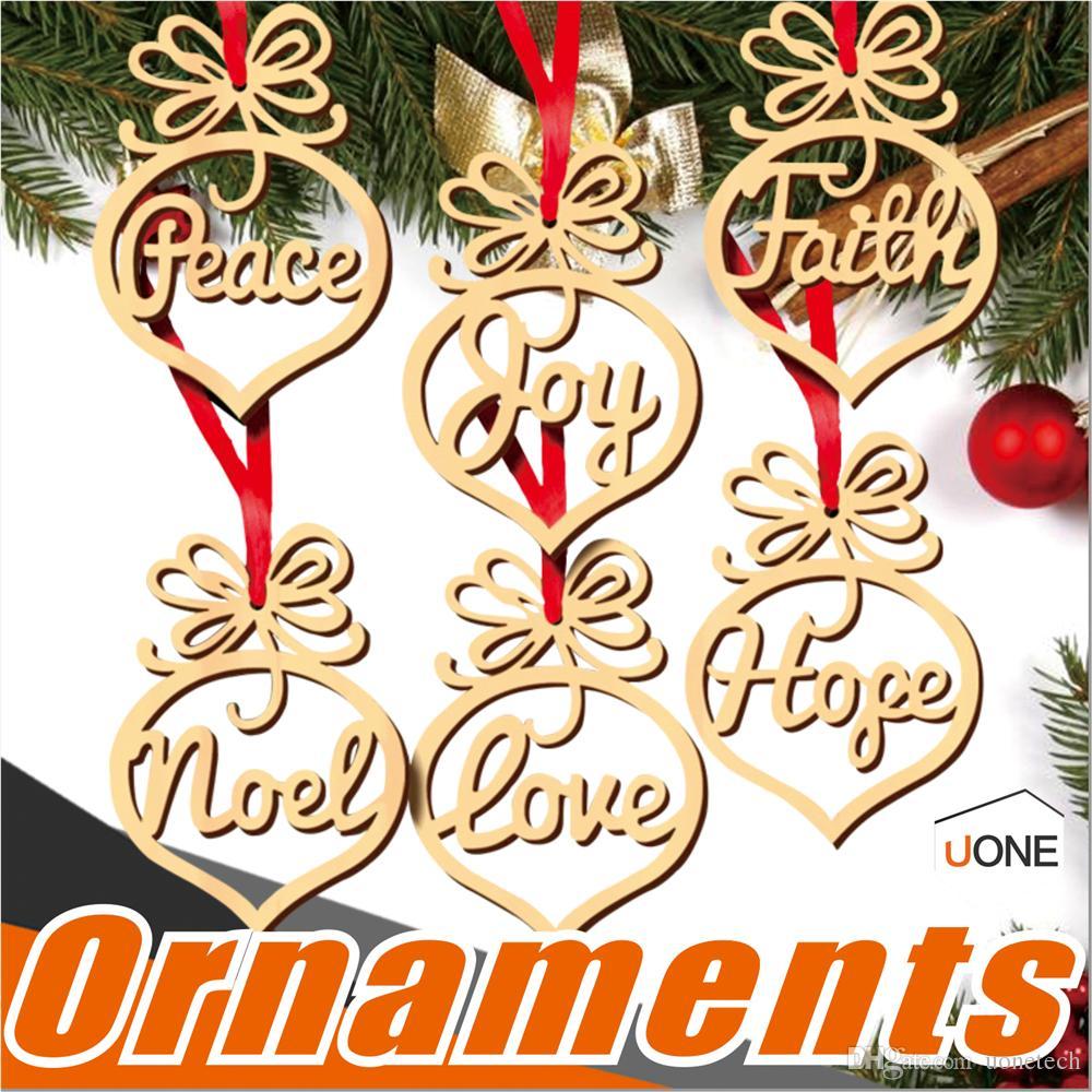 Christmas Letter Wood Heart Bubble Pattern Ornament Christmas Tree ...