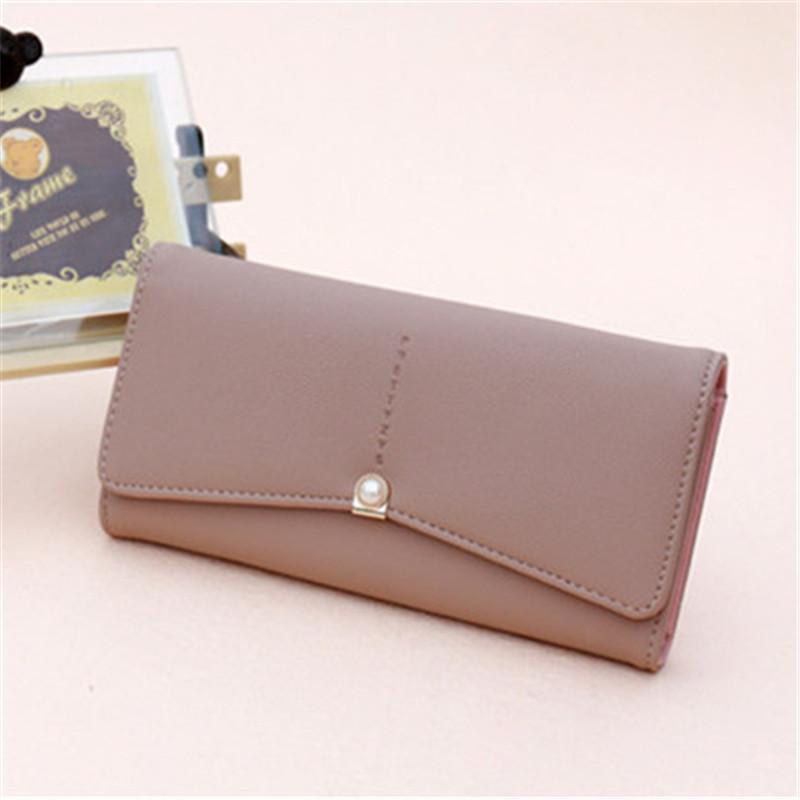 Fashion Multicolor PU Wallets & Holders Inlay Pearl Clutch Bags Card Holders For Women Long Wallets Gift