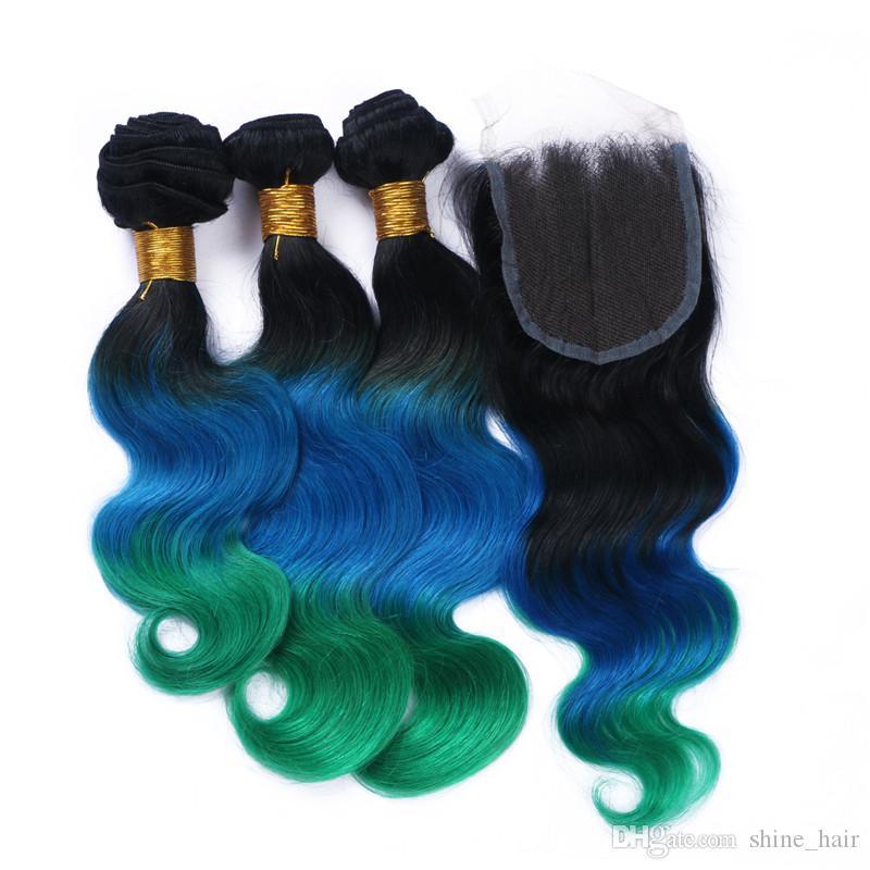 Бразильский 3tone Ombre человеческих волос 3bundles с кружева закрытия тела волна 1B синий зеленый Ombre 4x4 кружева передняя крышка с ткет 4 шт. Много