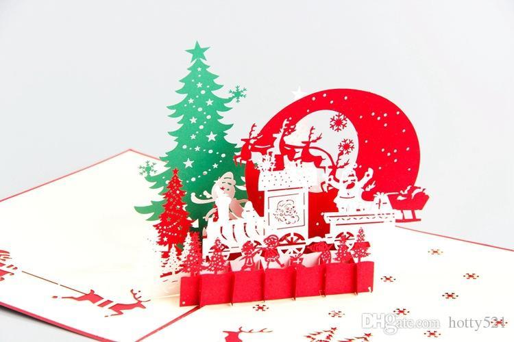 Großhandel neue handgemachte Santa Ride Weihnachtsbaum-Karten Kreative Kirigami Origami 3D-Pop-Up-Gruß-Karte für Kinder Freunde