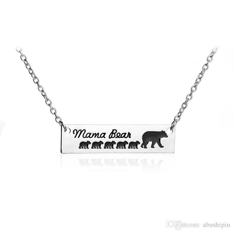 Fashion Mama Bear Baby Bear Long Chain Necklaces Pendant Necklaces For Women Girls Cute Silver Gold Color