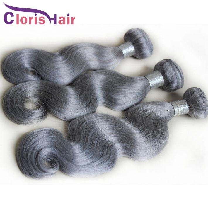 Hot Gray Weave Bundles Body Wave Peruvian Virgin Human Hair Extensions Cheap Wet And Wavy Silver Grey Weft Top Grade Beauty Products