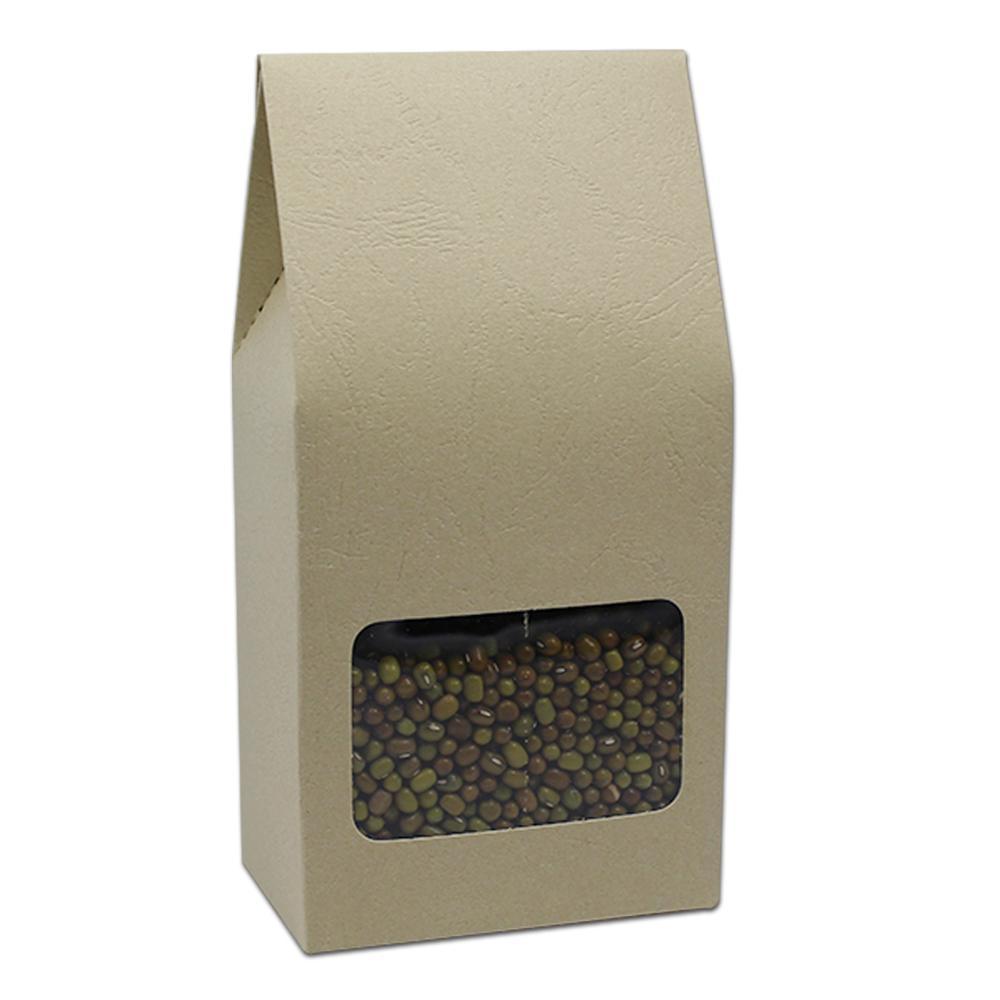 8 * 15.5 + 5cm in rilievo di carta kraft con fondo quadrato borsa a soffietto tasca a oragan borsa con finestra trasparente regalo cibo caramelle al cioccolato sacchetto di imballaggio