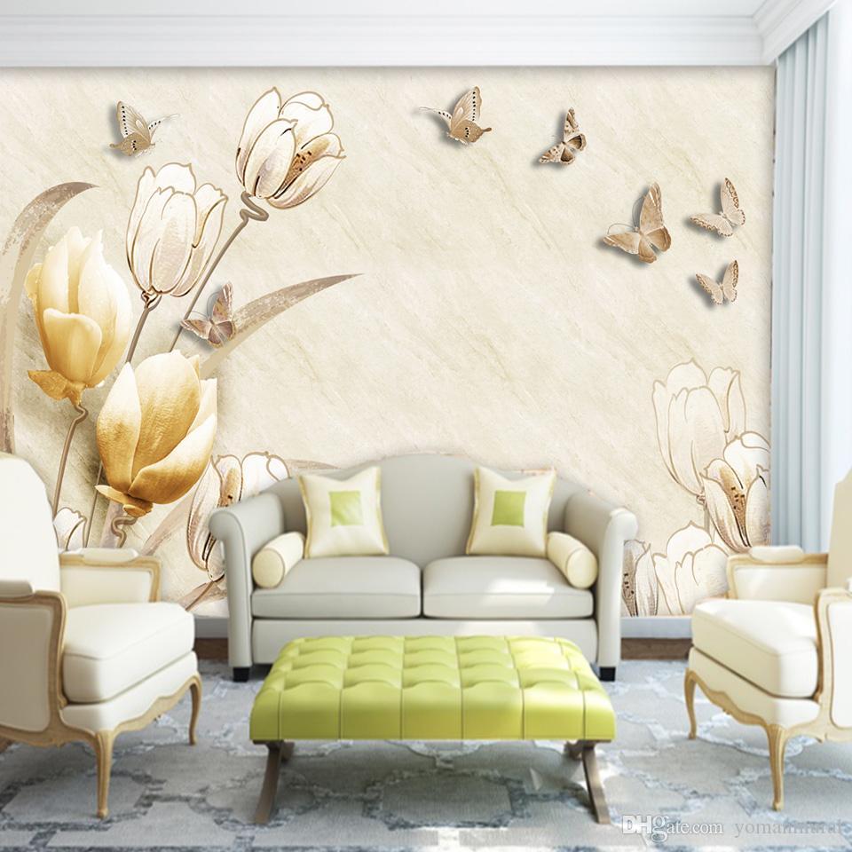 Custom Photo Wallpaper Mural Wall Sticker European 3D Stereo Magnolia Flower TV Wall Papel De