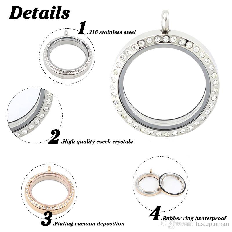 Panpan jewelry! Water Proof High quality 30mm 316L stainless steel twist floating charm lockets with crystals