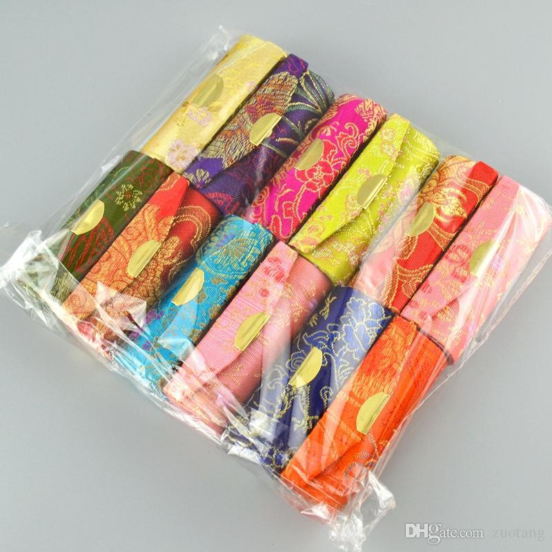 빈티지 저렴한 빈 립스틱 케이스 미러 중국어 실크 브로케이드 립 밤 튜브 무료 배송 박스 립 글로스 메이크업 용기 포장