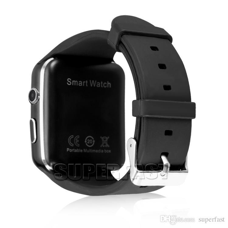 X6 Smart Watch Écran Courbé Smartwatches Support Caméra SIM Carte TF Carte Smartwatch Pour Android Smartphones dans la Boîte