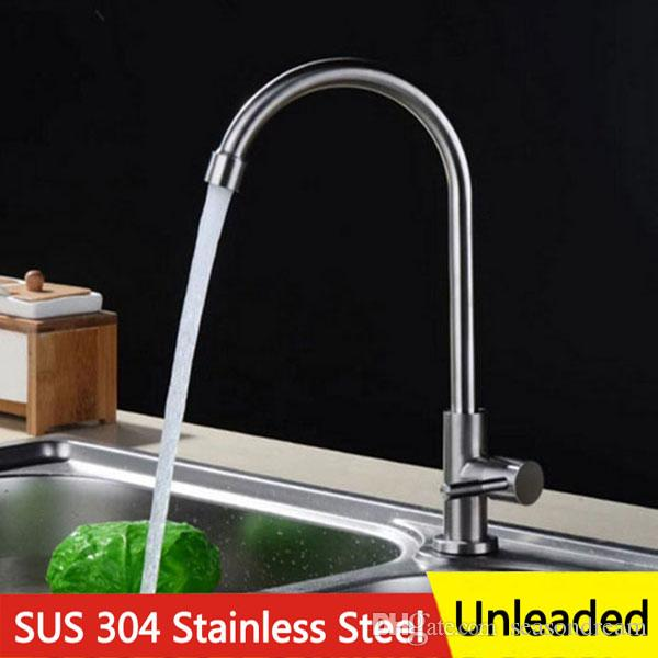 2018 Kitchen Water Tap Cold Hot Mix Faucet Filter 304 Stainless Steel  Unleaded 360 Degree Rotation For Dish Basin Kitchen Sink With Retail Box  From ...