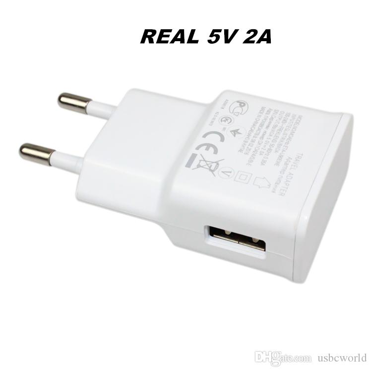 Real Full 5V 2A High Quality USB Wall Charger Travel Adapter For Samsung EU US Plug
