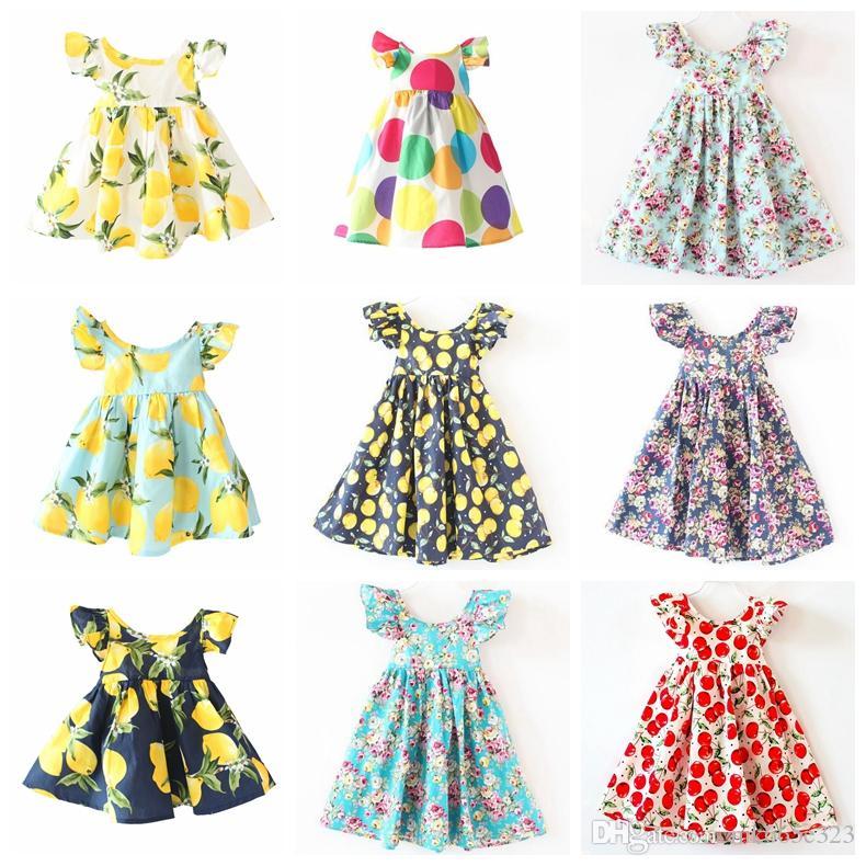 885e2f84a008d Cute Baby Girls Clothes Summer Children Dresses Fashion Backless Hem Cherry  Lemon Fruit Short sleeves Floral Beach Dress Kids Clothing