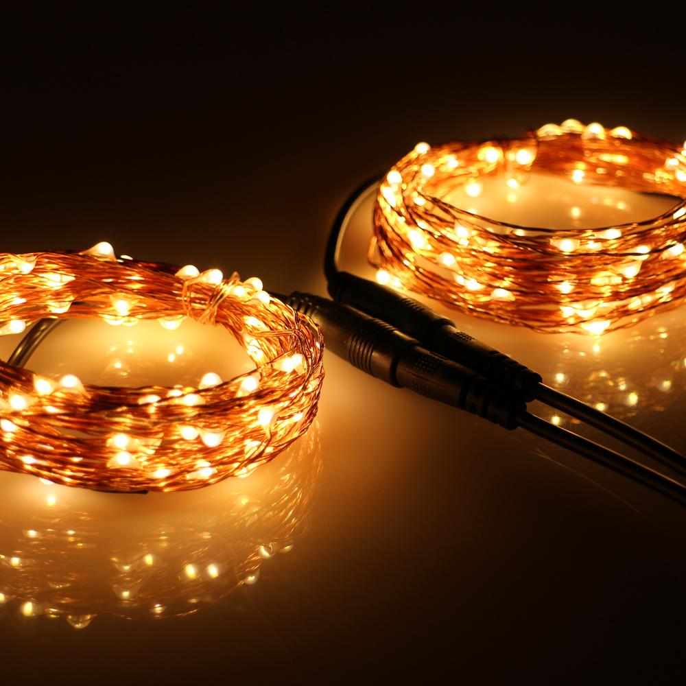 Wholesale Corded Connectable 20m 200led Copper Wire Outdoor Holiday Wiring Lights Fairy String With Power Adapter Usukeuau Plug Tail Lighting