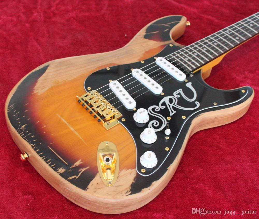 10s Custom Shop Limited Edition Stevie Ray Vaughan Tribute Srv Relic Electric Guitar Amber Sunburst FinishMaple Neck Fingeboard Best