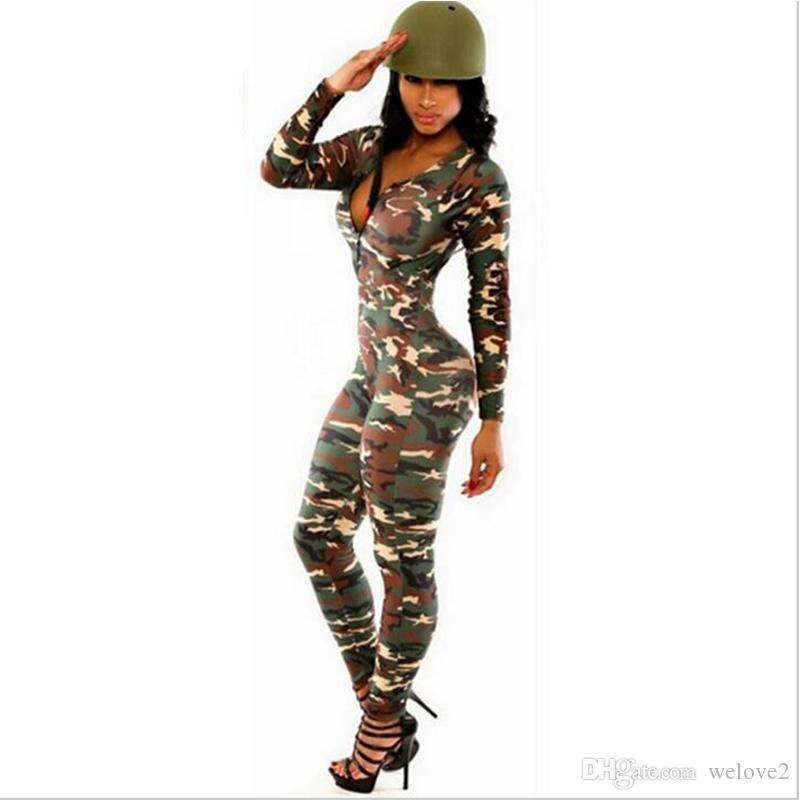 d725f8ad2d8b 2019 Camouflage Jumpsuit Romper Fitness Slim Bodysuit Women Romper Be Stretchy  Bodysuit Overalls Big Size Rompers Womens Jumpsuit SJ2089 From Welove2