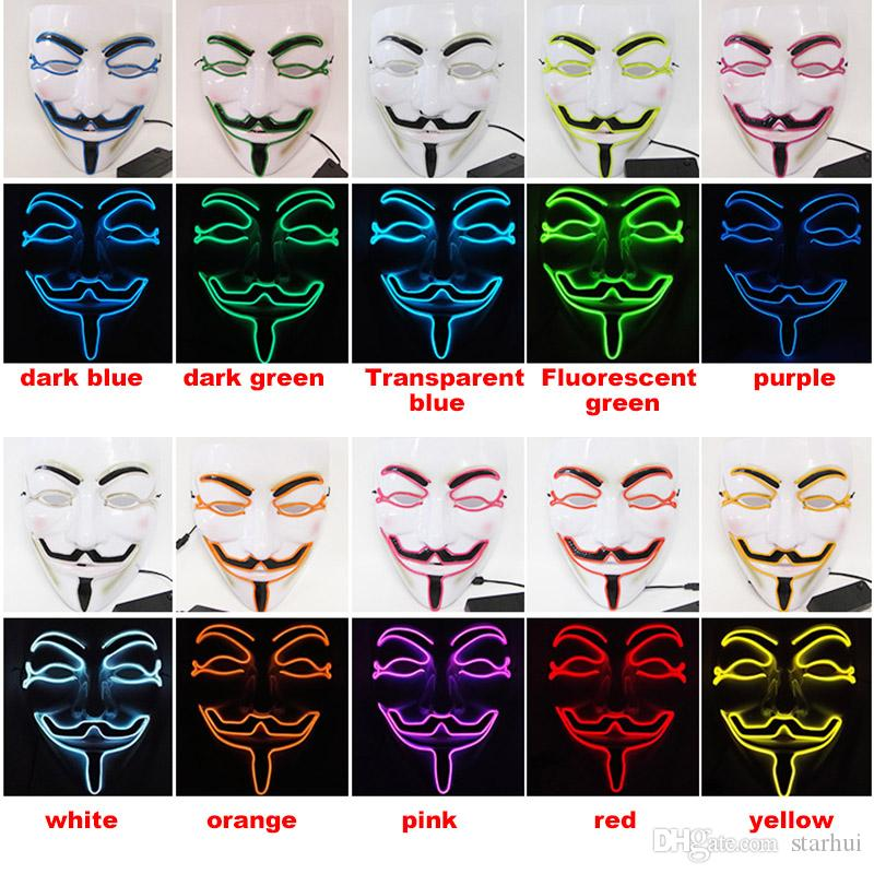 Новый LED Хэллоуин маски V слово ненависть Маска El провода светящиеся маски Маскарад анфас маски Хэллоуин костюмы партии подарок WX9-58