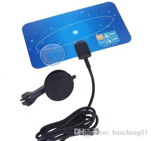 Dijital Kapalı TV Anten HDTV DTV HD VHF UHF Düz Tasarım Yüksek Kazanç ABD / AB Tak Yeni TV Anten Alıcı DHL tarafından