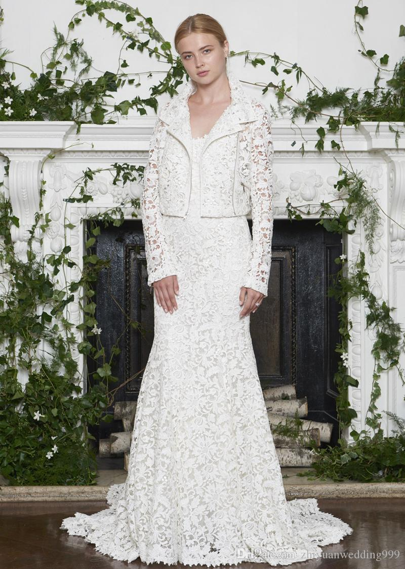 Full Lace Mermaid Wedding Dresses With Jacket Monique Lhuillier Fall ...