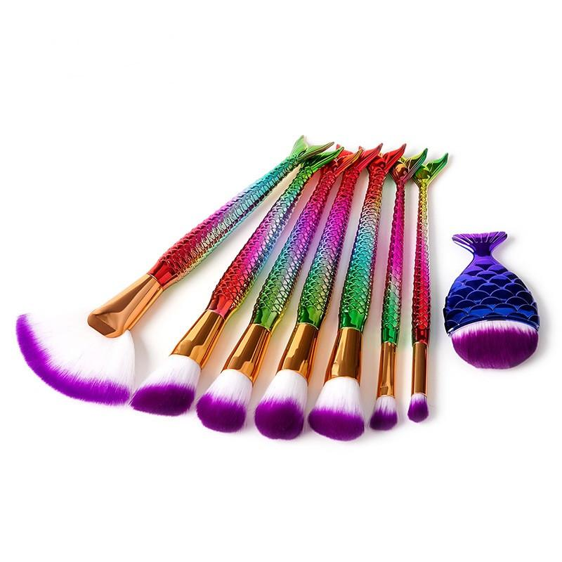 Pennelli trucco professionale sirene 8 Pennelli trucco cosmetici PC Set Pennello diamanti con effetto glitter kit di pennelli cosmetici DHL gratuito